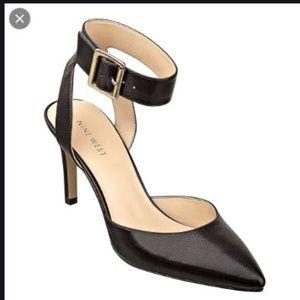 Black leather Nine West ankle strap heels.